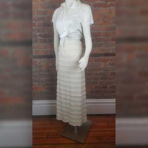 Max Studio Women's Maxi Skirt Ivory Lace Overlay L
